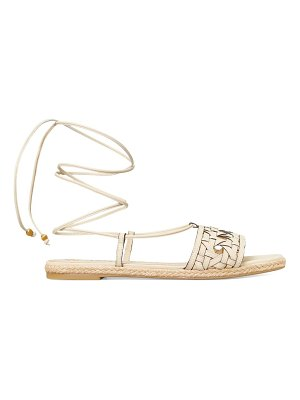 Tory Burch caning ankle-wrap leather espadrille sandals