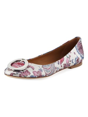 Tory Burch Caterina Ring-Buckle Floral Jacquard Ballet Flats