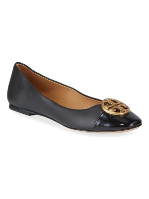 Tory Burch Chelsea Cap-Toe Leather Ballet Flats