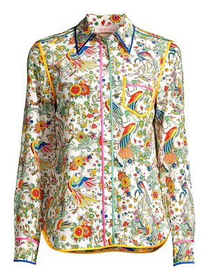 Tory Burch contrast-binding printed silk blouse
