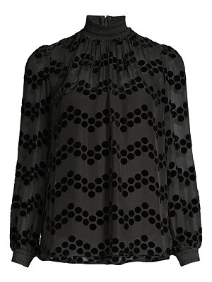 Tory Burch devore velvet polka dot sheer blouse