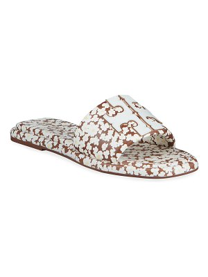 Tory Burch Double T Floral Medallion Slide Sandals