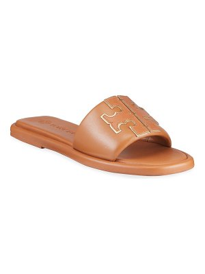 Tory Burch Double T Leather Medallion Slide Sandals