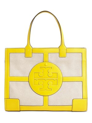 Tory Burch Ella leather & canvas tote bag
