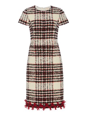 Tory Burch embroidered boucle tweed pencil dress