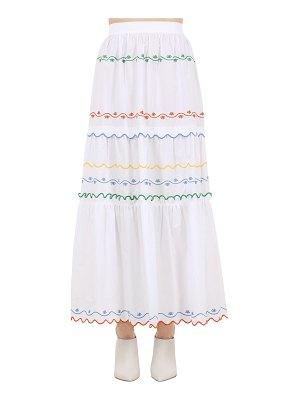 Tory Burch Embroidered cotton poplin long skirt