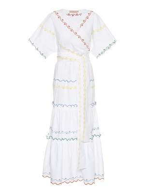 Tory Burch embroidered cotton wrap dress