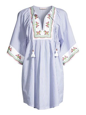 Tory Burch embroidered floral striped tunic