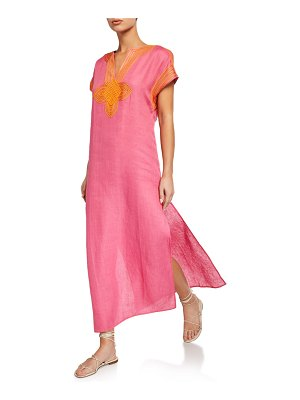 Tory Burch Embroidered Linen Long Caftan