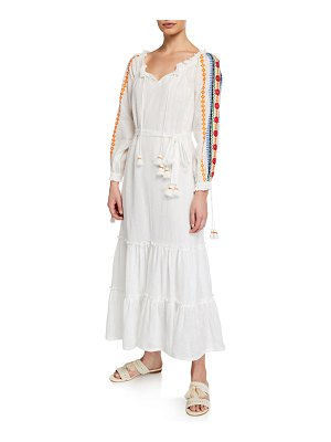 Tory Burch Embroidered Split-Neck Long-Sleeve Peasant Dress