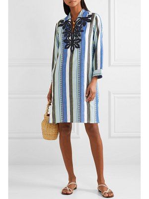 Tory Burch embroidered striped cotton-jacquard dress