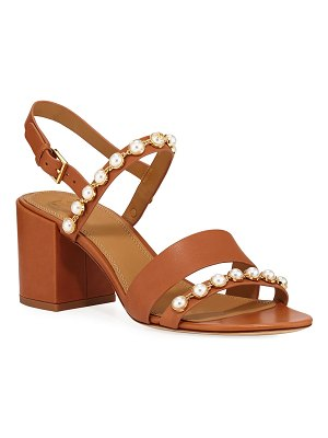 Tory Burch Emmy Pearly Studded Block-Heel Sandals