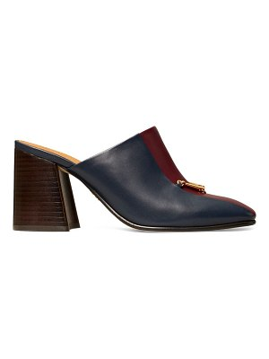 Tory Burch equestrian link square-toe colorblock leather mules