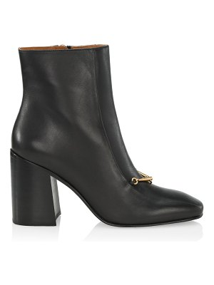 Tory Burch equestrian link square-toe leather ankle boots