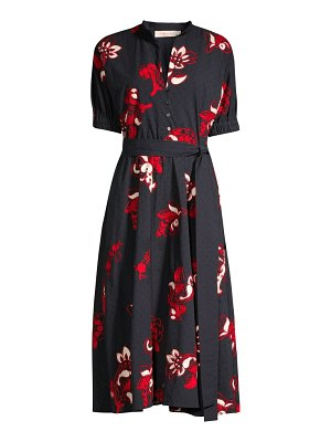 Tory Burch floral-embroidered lace eyelet a-line shirtdress