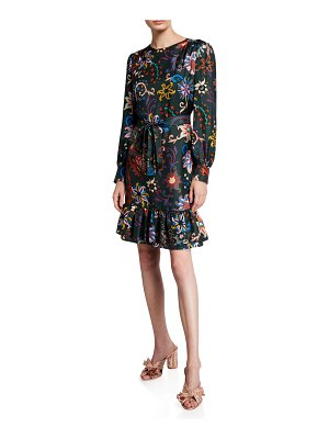 Tory Burch Floral Long-Sleeve Silk Twill Shift Dress