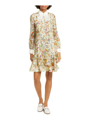 Tory Burch floral metallic long sleeve silk dress