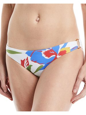 Tory Burch Floral-Print Hipster Swim Bikini Bottoms with Ring Detail