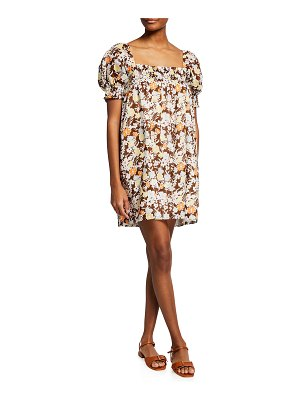 Tory Burch Floral Print Puff-Sleeve Smocked Mini Dress