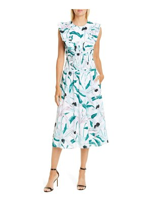 Tory Burch floral print smocked midi dress