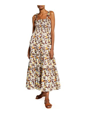 Tory Burch Floral-Print Tie-Shoulder Tiered Maxi Dress