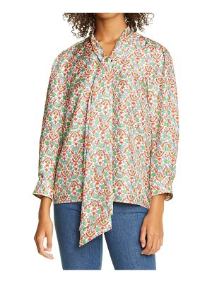 Tory Burch floral silk bow blouse