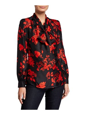 Tory Burch Floral Tie-Neck Long-Sleeve Silk Blouse