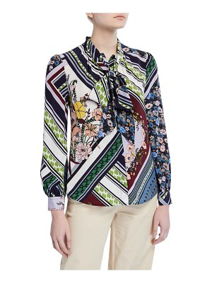 Tory Burch Flower Patchwork Bow-Neck Long-Sleeve Blouse