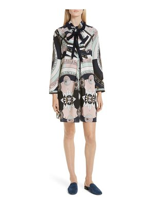Tory Burch fringe bow silk shirtdress