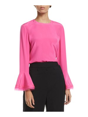 Tory Burch Gabby Ruffle-Sleeve Silk Blouse