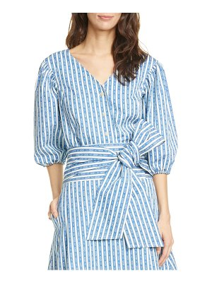 Tory Burch gemini link stripe puff sleeve top