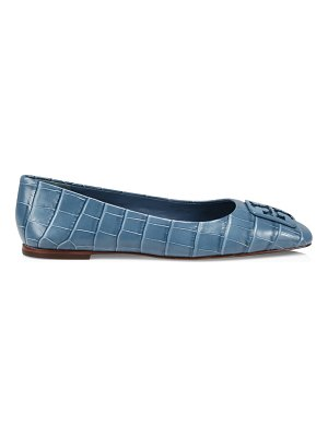 Tory Burch georgia square-toe croc-embossed leather ballet flats