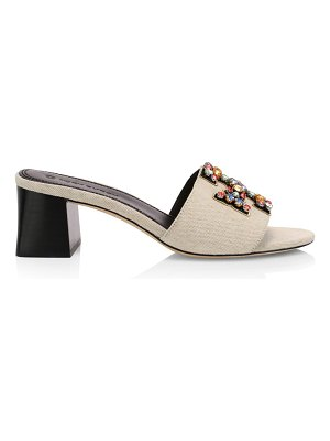 Tory Burch ines embellished linen & leather mules