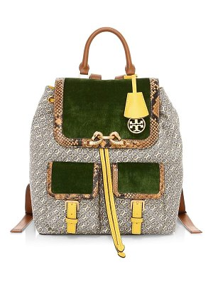 Tory Burch jessa mixed-media gemini jacquard backpack