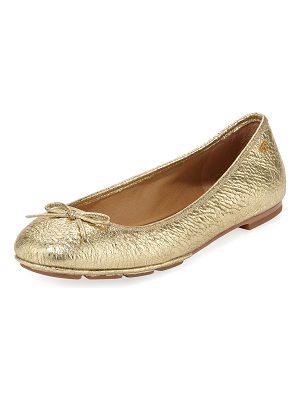 Tory Burch Laila 2 Metallic Leather Driver Ballet Flats