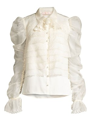 Tory Burch layered silk organza gathered-sleeve blouse