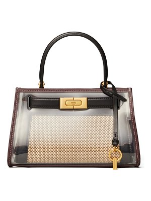 Tory Burch lee radziwill canvas & leather handbag with raincoat bag cover