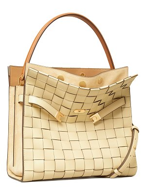 Tory Burch Lee Radziwill Woven Double Satchel Bag