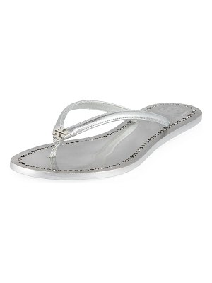 Tory Burch Liana Flat Metallic Leather Thong Sandals