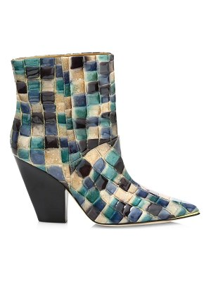 Tory Burch lila patchwork leather ankle boots