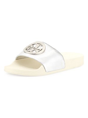 Tory Burch Lina Metallic Leather Pool Slide Sandals