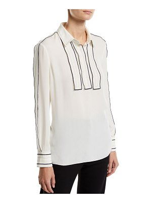 Tory Burch Long-Sleeve Silk Blouse w/ Contrast Trim