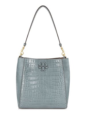 Tory Burch mcgraw croc-embossed leather hobo bag