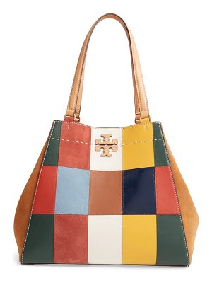 Tory Burch mcgraw patchwork leather & suede tote