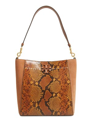 Tory Burch mcgraw snake embossed leather hobo