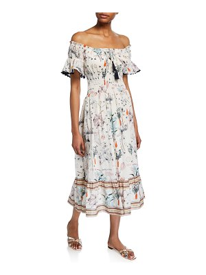 Tory Burch Meadow Folly Off-the-Shoulder Floral Midi Dress