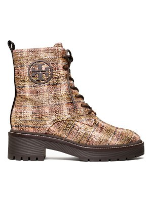 Tory Burch miller lug-sole tweed combat boots
