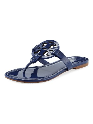 Tory Burch Miller Medallion Patent Leather Flat Thong Sandals