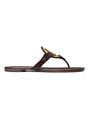 Tory Burch miller metal croc-embossed leather thong sandals