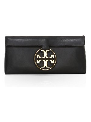 Tory Burch miller metal leather clutch